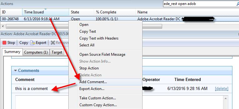 BigFix API + Add Comment to action - Customizations - BigFix
