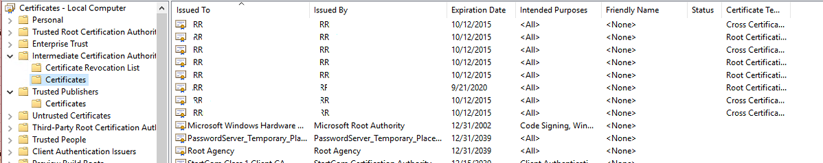 Remove Expired Windows Certificates - Content Authoring