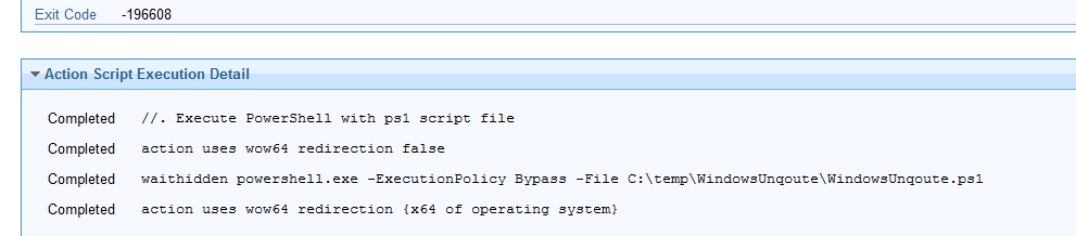 Bigfix Script  issue related to powershell script