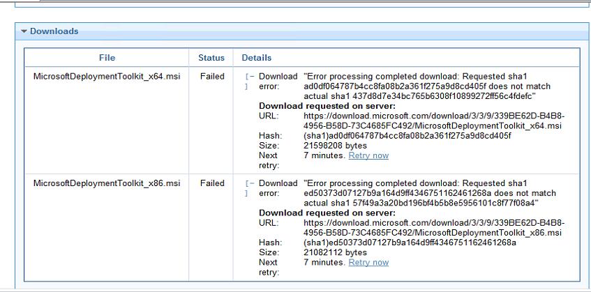 Sha1 hash mismatch error - OSD - BigFix Forum