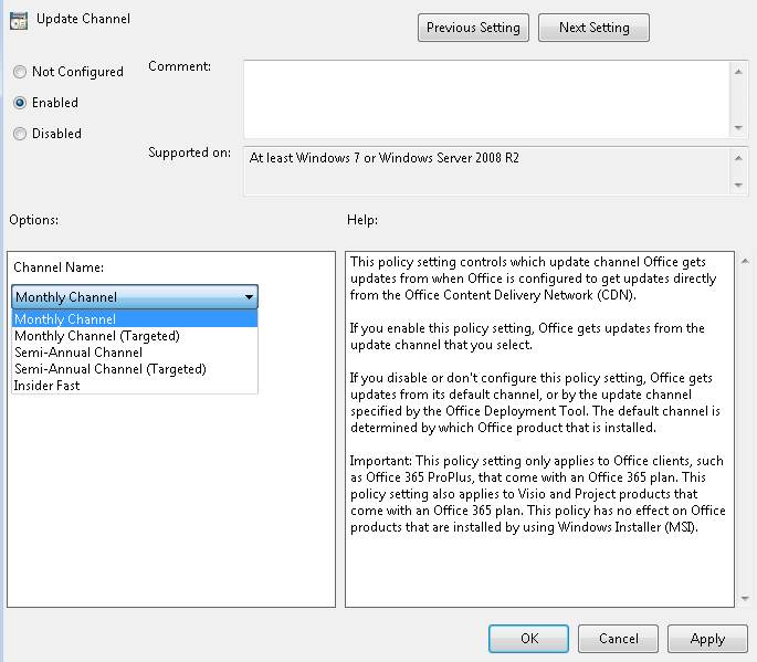 Office 365 Channel Changing - Content Authoring - BigFix Forum