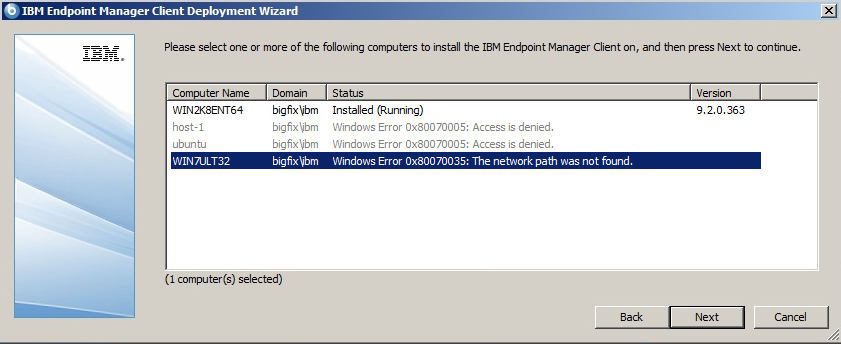 0x80070035 network path was not found - Deployment Tool - Usage and